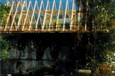 Oprava střechy kostela v roce 1991
