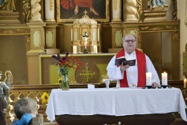 Mše v kostele sv. Jakuba většího v rámci Treffen 2017 - setkání rodáku a místních z Domaslavi