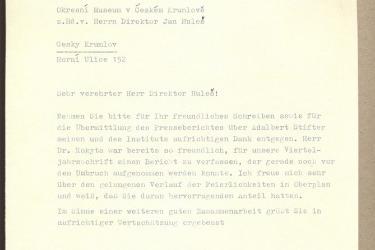 Dopis k otevření památníku v roce 1960 od Adalbert Stifter-Institutu z Lince (Zdroj/Quelle: Památník-rodný dům A. Stiftera, pobočka Regionálního muzea v Českém Krumlově)