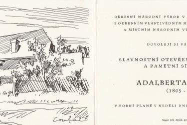 Pozvánka na slavnostní otevření rodného domu A. Stiftera v roce 1960 (Zdroj/Quelle: Památník-rodný dům A. Stiftera, pobočka Regionálního muzea v Českém Krumlově)