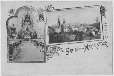 Historický pohled s původní obcí Skoky a kostelem Navštívení Panny Marie. V obci žilo zhruba 140 lidí.