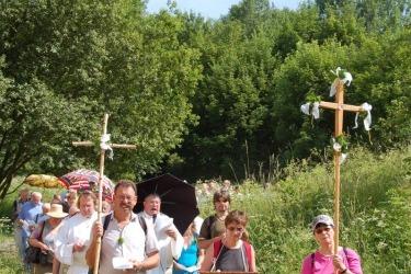 Wallfahrt in Maria Stock, 2017. Das Gnadenbild Mariahilf ist Teil jeder Wallfahrt in Maria Stock. Es handelt sich um eine Kopie des bekannten wunderwirkenden Gnadenbildes Mariahilf aus dem deutschen Passau.