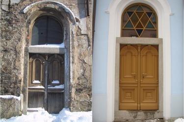 Eingang der Synagoge, 2003 und 2006
