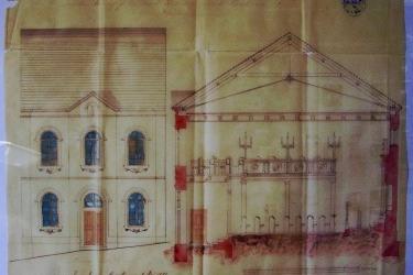 Die Pläne des Architekten Georg Beywl für die Synagoge (1881).