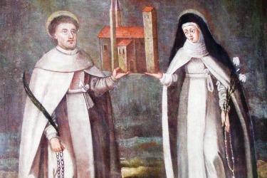 Die Gründer des Klosters Chotieschau, der Selige Hroznata und seine Schwester, die ehrwürdige Vojslava. Chotieschau, um 1650.