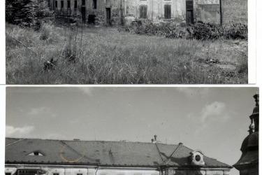 Armáda opustila klášter v 70. letech, poté klášter střídal majitele a chátral, po revoluci převzala správu nad klášterem obec - snímek jihozápadního kláštera z 90. léta 20.století (Zdroj: Spolek pro klášter Chotěšov)