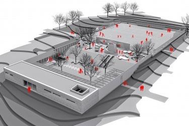 Architektonická studie vnitrobloku Manětíns..